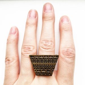 Brassy gold tribal trapezoid ring